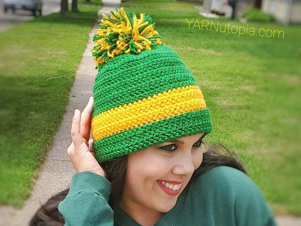 crochet Stadium Pom Beanie free pattern