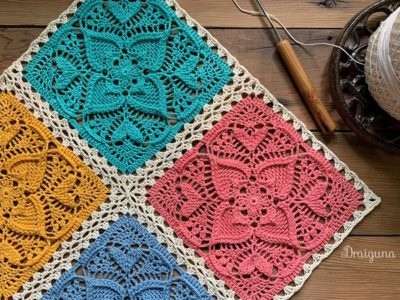 crochet Sweetheart Square free pattern