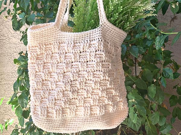 crochet Basketweave Market Bag free pattern