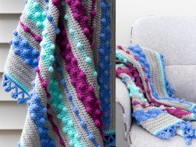 crochet Bobble Stripe Baby Blanket free pattern