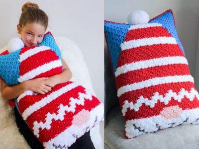 Christmas Gnome C2C Pillow