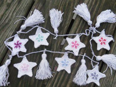 crochet Christmas Star Bunting free pattern