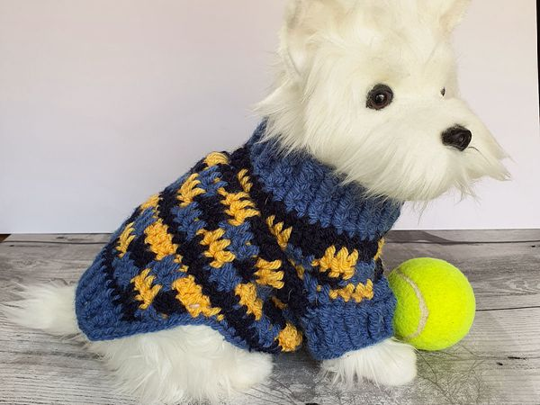 crochet Cosy Dog Sweater Jumper free pattern