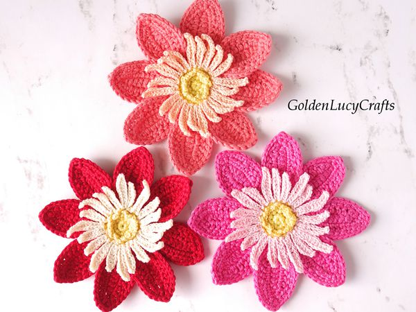 crochet Dahlia Flower Applique free pattern