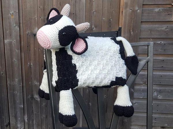 crochet Farm Cow Folding Baby Blanket easy pattern