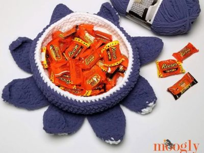 crochet Halloween Tentacle Candy Bowl free pattern