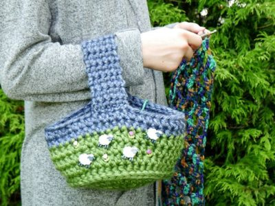 crochet Happy Sheep Project Bag free pattern