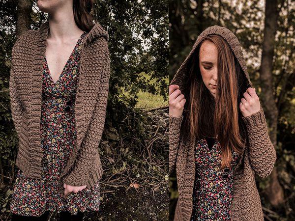 crochet Hooded Fall Cardigan free pattern