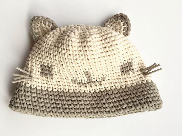 crochet Kitty Cat Face Hat free pattern