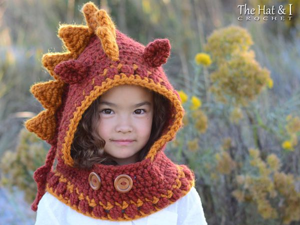 crochet Lucky Dragon Hood Cowl easy pattern