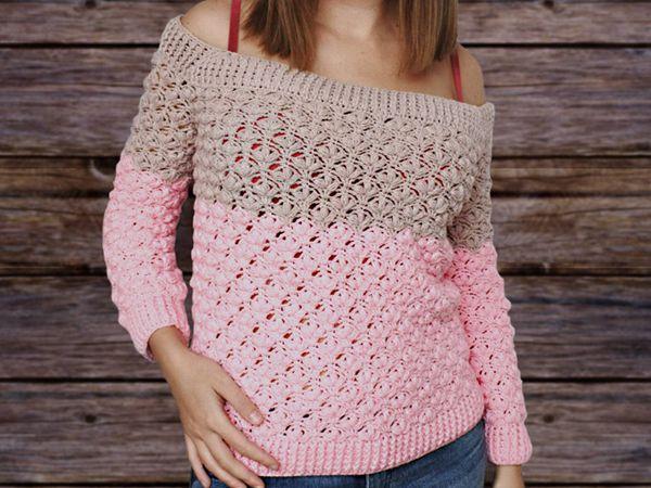 crochet Off the Shoulder Sweater easy pattern