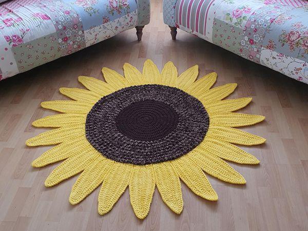 crochet Sunflower Rug easy pattern
