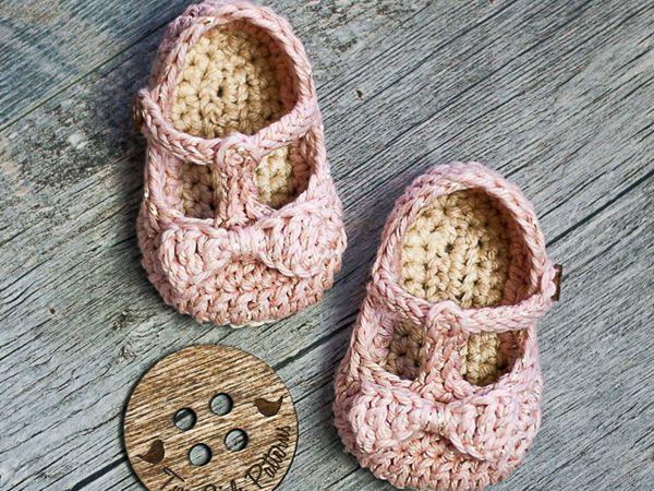 crochet Tali T-strap Baby Booties easy pattern