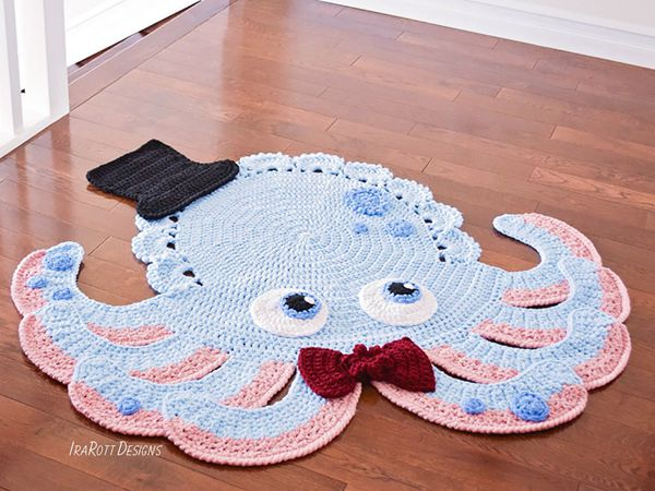 crochet the Octopus Animal Rug easy pattern