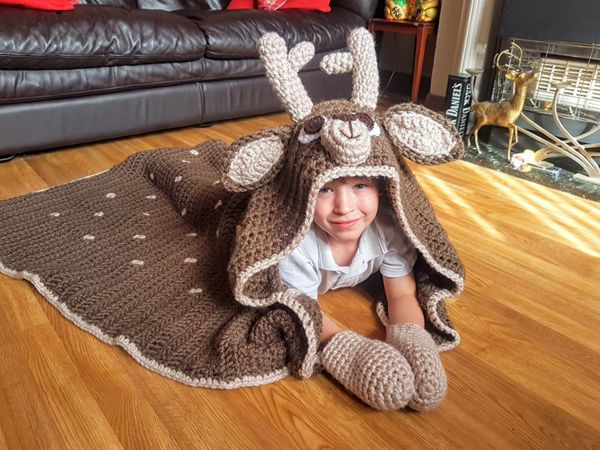 crochet 2in1 Woodland Deer Hooded Blanket easy pattern
