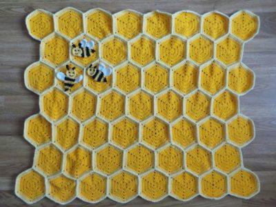 crochet Bee Happy Honeycomb Baby Blanket easy pattern