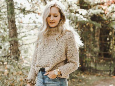 crochet Chainette Turtleneck Sweater easy pattern