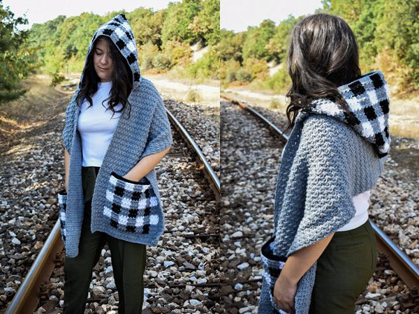 crochet Checkmate Pocket Scarf with Hood free Pattern