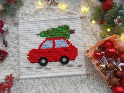 crochet Christmas Red Car Wall Hanging easy pattern