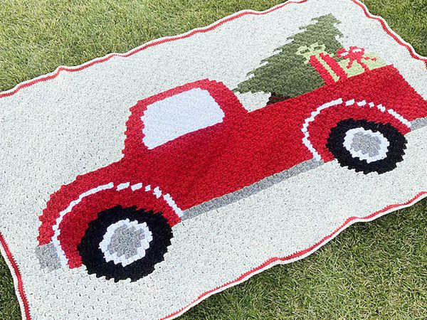 crochet Christmas Tree Truck Blanket free pattern