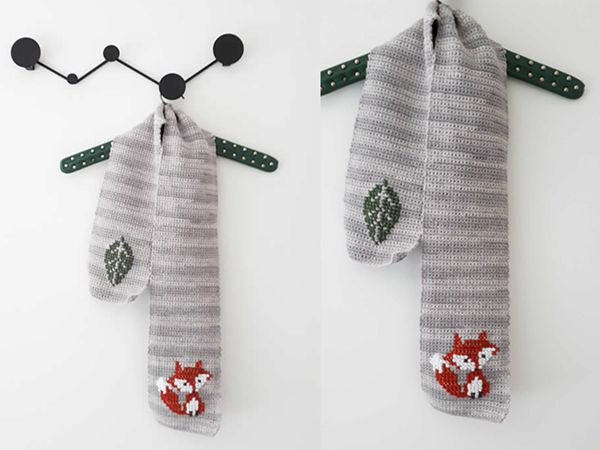 crochet Fox scarf free pattern