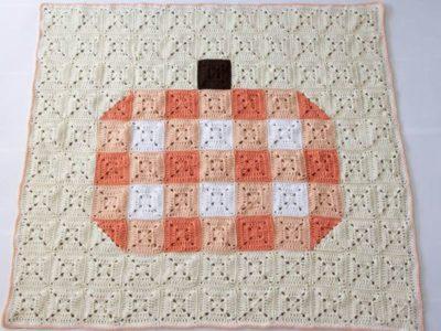 crochet GINGHAM PUMPKIN BLANKET free pattern