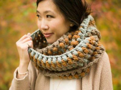 crochet Hues Jumbo Puff Stitch Cowl free pattern