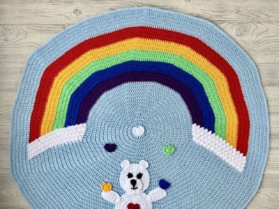 crochet Love Bear Rainbow Baby Blanket free pattern