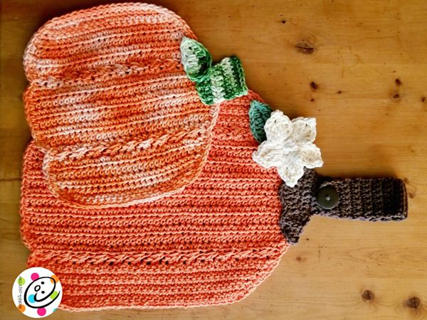 crochet Pumpkin Dishcloth free pattern