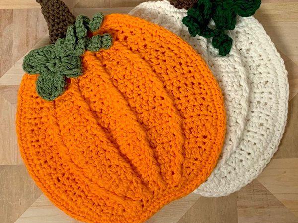crochet Pumpkin Potholder easy pattern