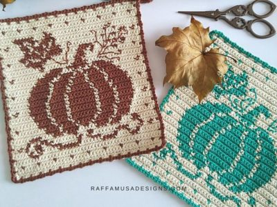 crochet Pumpkin Potholder free pattern tapestry crochet