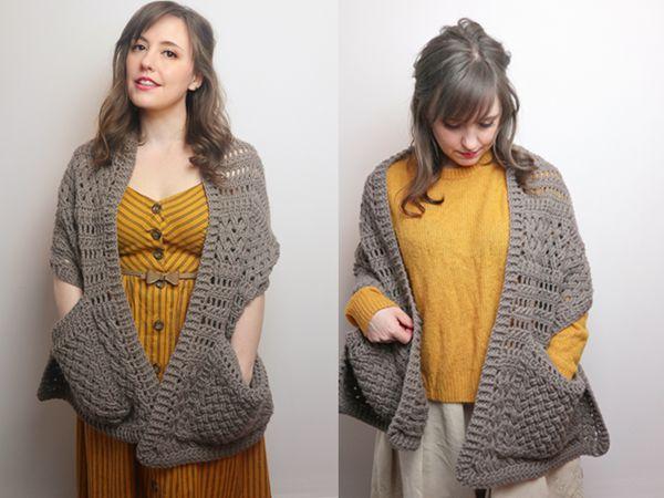 crochet Ashley Pocket Shawl free pattern