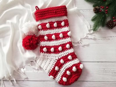 crochet Bobbles Stripes Xmas Stocking free pattern