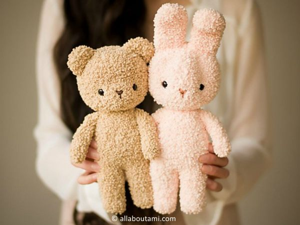 crochet Boucle Bear and Bunny free pattern