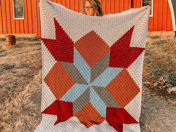crochet C2C Barn Quilt Blanket free pattern