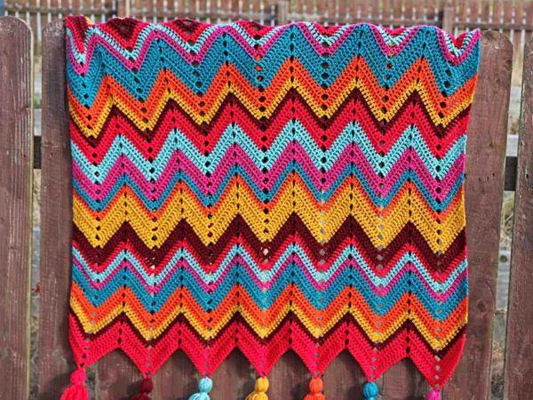 crochet Chevron Retro Blanket free pattern