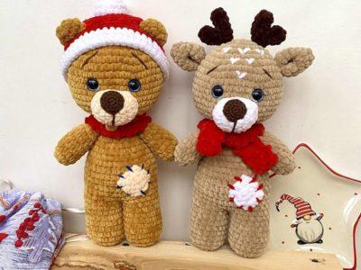crochet Christmas BEAR and DEER easy pattern