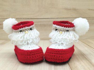 crochet Christmas Santa Baby Booties easy pattern