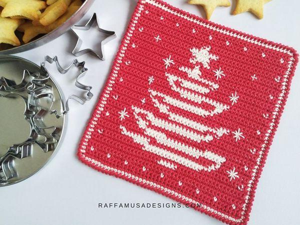 crochet Christmas Tree Potholder free pattern