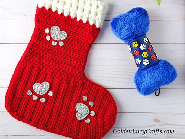 crochet Dog Christmas Stocking free pattern