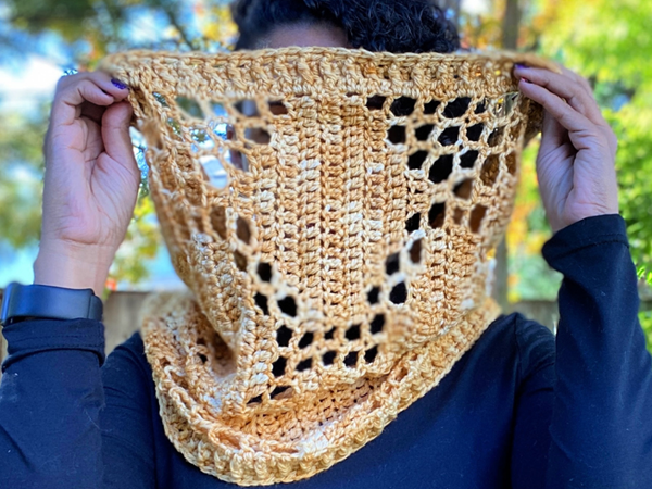 crochet Filet Honeycomb Cowl free pattern