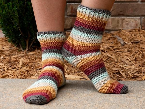 crochet Herringbone Socks free pattern