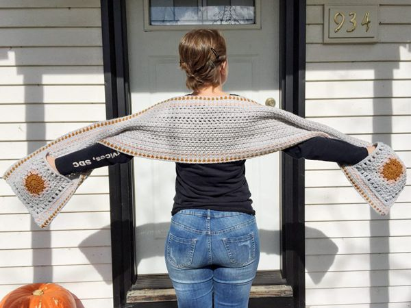 crochet Hip Granny Pocket Shawl free pattern