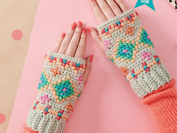 crochet Hygge Embroidered Wristies free pattern