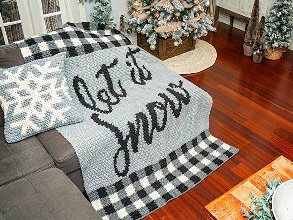 crochet LET IT SNOW CROCHET BLANKET free pattern