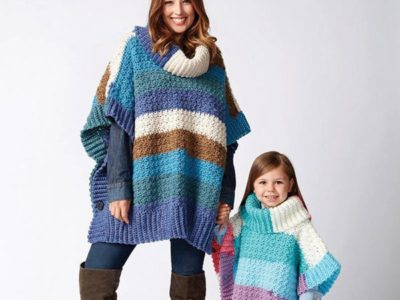 crochet Mom And Her Girl Ponchos easy pattern