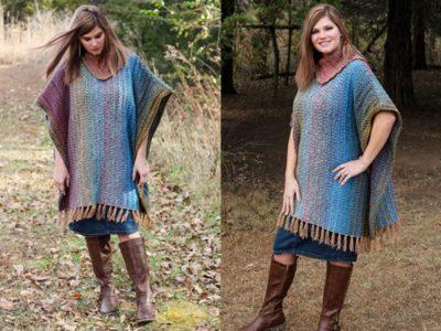 crochet Mountain Trail Tweed Poncho free pattern