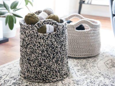 crochet Round Sturdy Basket free pattern