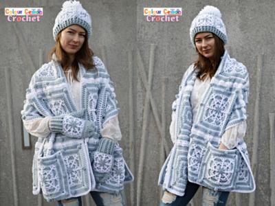 crochet Snowflake Pocket Shawl Set free pattern