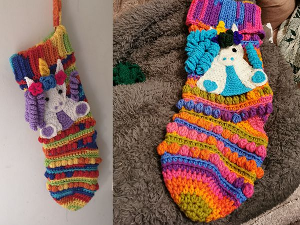 Unicorn Applique Christmas Stocking